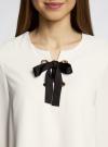 Блузка с бантом и рукавом-колоколом oodji #SECTION_NAME# (слоновая кость), 11401256/45994/3000N - вид 4
