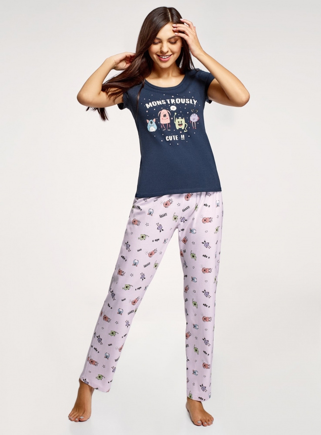 Пижама хлопковая с брюками oodji #SECTION_NAME# (синий), 56002074-1/46158/7941P