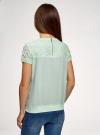 Блузка кружевная с молнией на спине oodji #SECTION_NAME# (зеленый), 11400382-1/24681/6500N - вид 3