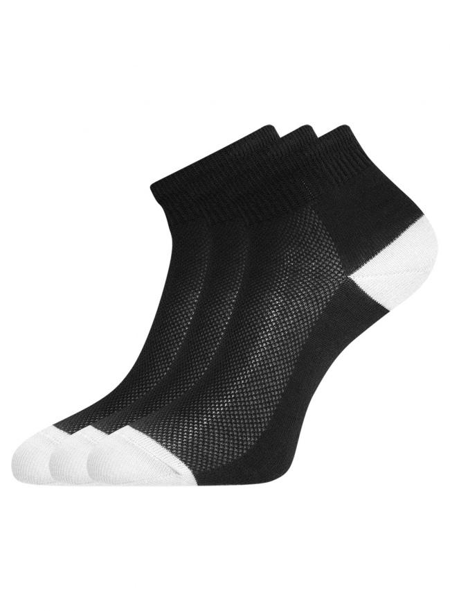 Комплект из трех пар укороченных носков oodji для женщины (черный), 57102418-1T3/47613/3