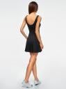 Платье на бретелях с расклешенным низом oodji для женщины (черный), 14015021-1/48436/2910P