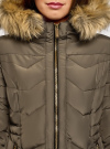 Куртка удлиненная с капюшоном oodji #SECTION_NAME# (зеленый), 20204047/45934/6800N - вид 4