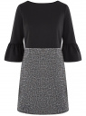 Платье комбинированное с воланами на рукавах oodji #SECTION_NAME# (черный), 14001252/46944/2919B
