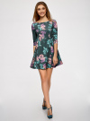 Платье трикотажное принтованное oodji #SECTION_NAME# (зеленый), 14001150-3/33038/7683F - вид 2