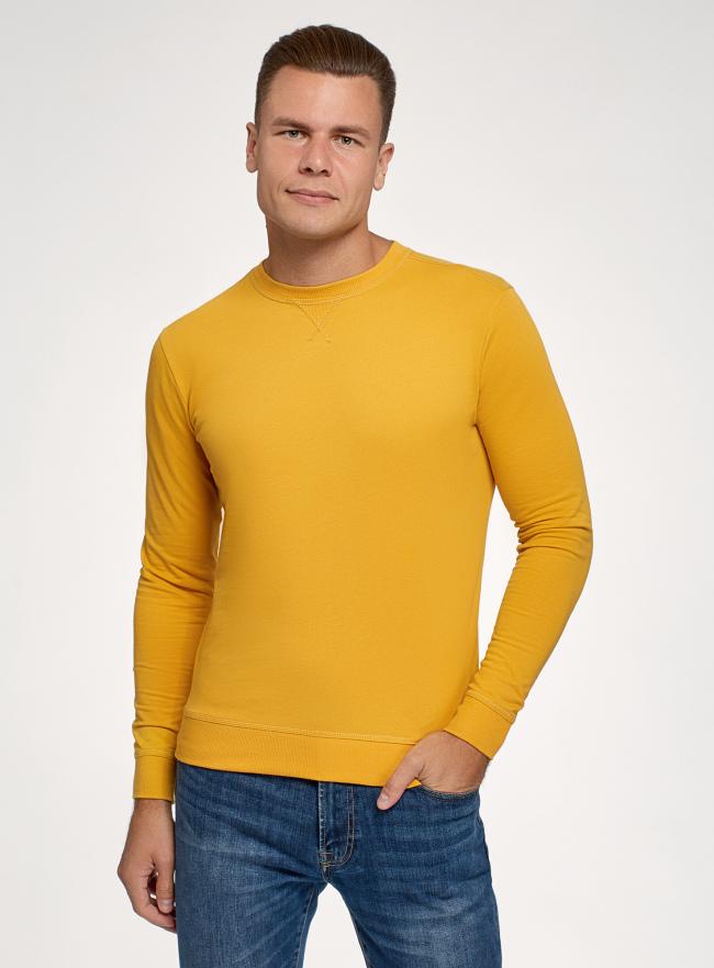 Свитшот базовый хлопковый oodji для мужчины (желтый), 5B113002M/46738N/5204N