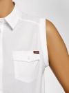 Рубашка без рукавов с нашивками oodji #SECTION_NAME# (белый), 14901419-1/13175N/1045P - вид 5