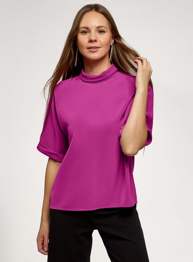 Блузка из струящейся ткани с коротким рукавом oodji для женщины (розовый), 11405147/48728/4700N