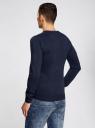 Пуловер с хлопковой вставкой на груди oodji #SECTION_NAME# (синий), 4B212006M/39245N/7910B - вид 3