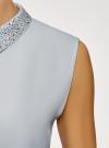 Топ из струящейся ткани с декором на воротнике oodji #SECTION_NAME# (синий), 14911006-1/43414/7000N - вид 5