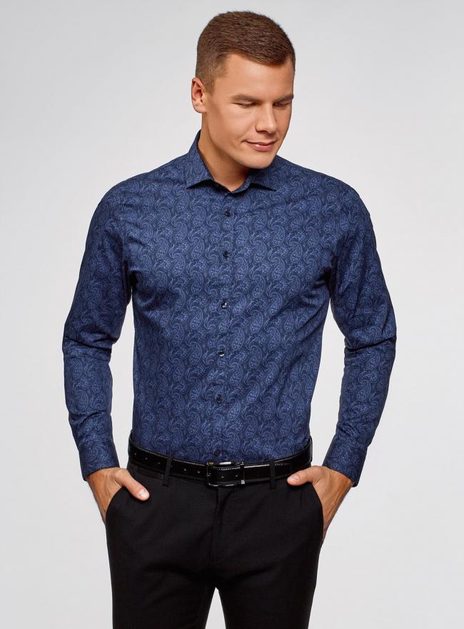 Рубашка приталенная с этническим принтом oodji #SECTION_NAME# (синий), 3L110343M/19370N/7574E