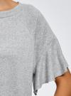 Футболка прямого силуэта с воланами на рукавах oodji #SECTION_NAME# (серый), 14707008/15640/2000M - вид 5