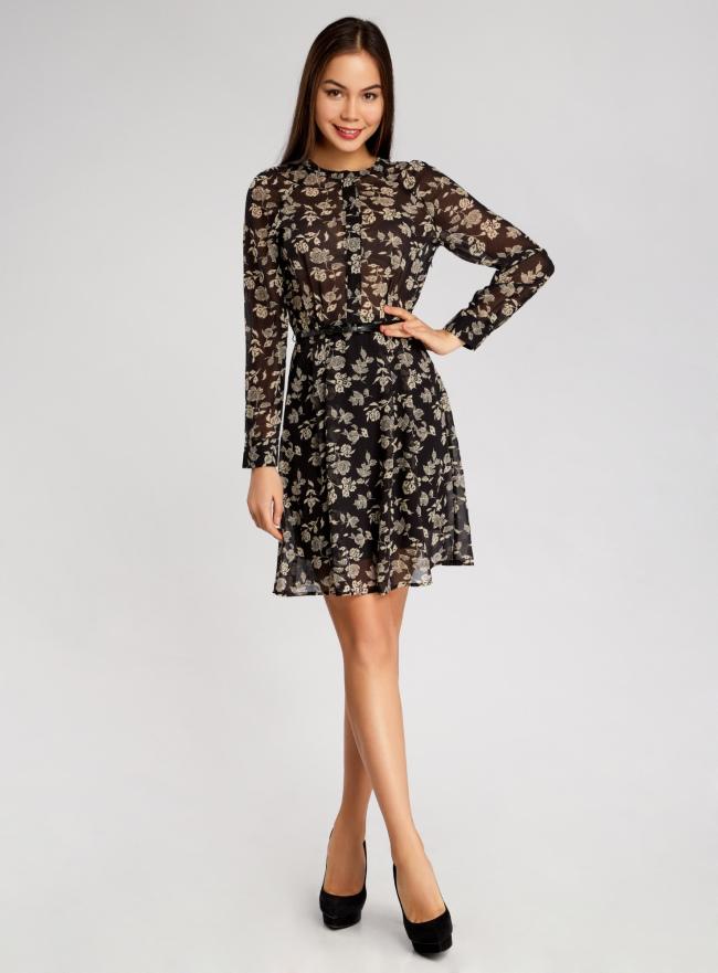 Платье принтованное из шифона oodji для женщины (черный), 21912001-1/38375/2933F