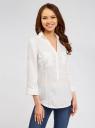 Блузка льняная с карманами oodji для женщины (белый), 21412145-1/46591/1200N