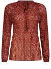 Блузка гофрированная с завязками oodji #SECTION_NAME# (красный), 11414005/46166/4943F