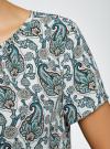 Блузка свободного силуэта с вырезом-капелькой oodji #SECTION_NAME# (зеленый), 11411157/46633/3073E - вид 5
