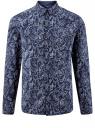 Рубашка принтованная из хлопка oodji #SECTION_NAME# (синий), 3B110027M/19370N/7975E