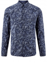 Рубашка принтованная из хлопка oodji для мужчины (синий), 3B110027M/19370N/7975E