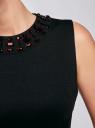 Платье трикотажное с декором из камней oodji #SECTION_NAME# (черный), 24005134/38261/2900N - вид 5