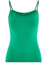 Топ трикотажный на тонких бретелях oodji для женщины (зеленый), 14305023-1B/46147/6D00N