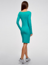 Платье трикотажное облегающего силуэта oodji #SECTION_NAME# (бирюзовый), 14001183B/46148/7300N - вид 3