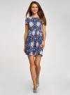 Платье принтованное из вискозы oodji для женщины (синий), 11900191/26346/7970E - вид 2