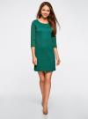 Платье трикотажное с рукавом 3/4 oodji #SECTION_NAME# (зеленый), 24001100-3/45284/6E00N - вид 2