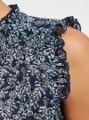 Топ принтованный из легкой ткани oodji для женщины (синий), 11411097/17358/7912F - вид 4