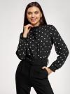 Блузка прямого силуэта с рюшами oodji #SECTION_NAME# (черный), 11411198-1/36215/2912O - вид 2
