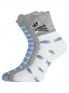 Комплект из трех пар хлопковых носков oodji для женщины (разноцветный), 57102802T3/47469/23 - вид 2