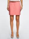 Юбка хлопковая с ремнем oodji #SECTION_NAME# (розовый), 11600397-2B/32887/4100N - вид 2