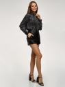 Блузка свободного силуэта из струящейся ткани oodji для женщины (черный), 11400457/50317/2912O
