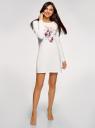 Платье трикотажное с завязками на спине oodji для женщины (белый), 59801021/46158/1219P