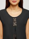 Блузка комбинированная без рукавов oodji #SECTION_NAME# (черный), 11411199/36215/2900N - вид 4