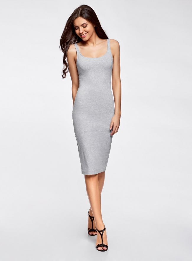 Платье-майка трикотажное oodji для женщины (серый), 14015007-2B/47420/2000M