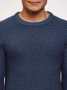 Джемпер вязаный с круглым вырезом oodji #SECTION_NAME# (синий), 4L112210M/25255N/7975J - вид 4