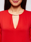 Блузка с вырезом-капелькой и металлическим декором oodji #SECTION_NAME# (красный), 21400396/38580/4500N - вид 4