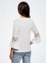 Блузка трикотажная с кружевными вставками на рукавах oodji #SECTION_NAME# (белый), 11308096/43222/1000N - вид 3