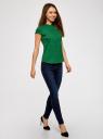 Рубашка с коротким рукавом из хлопка oodji #SECTION_NAME# (зеленый), 11403196-1/18193/6E00N - вид 6