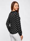 Блузка из струящейся ткани с контрастным воротником oodji #SECTION_NAME# (черный), 11411117/36005/2930Q - вид 3