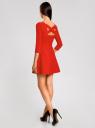 Платье приталенное с вырезом на спине oodji для женщины (красный), 11911001/38461/4500N