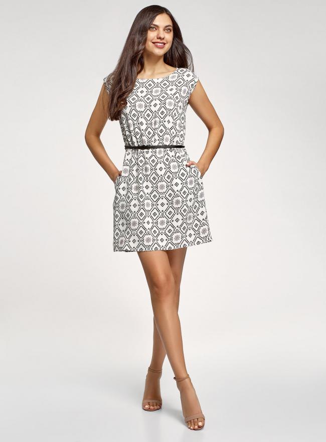 Платье принтованное из вискозы oodji #SECTION_NAME# (белый), 11910073/26346/1229O