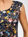 Платье трикотажное с принтом oodji для женщины (синий), 14015003/33038/7962F