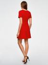 Платье жаккардовое с коротким рукавом oodji для женщины (красный), 11902161/45826/4500N - вид 3