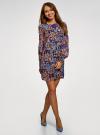 Платье прямого силуэта из струящейся ткани oodji #SECTION_NAME# (синий), 11900150-13/13632/2970F - вид 6