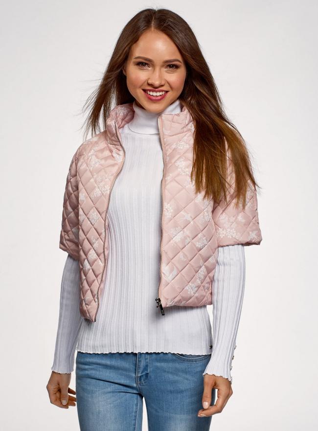 Куртка стеганая принтованная oodji для женщины (розовый), 10207002-1/45419/4012F