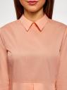 Блузка хлопковая с баской oodji #SECTION_NAME# (розовый), 13K00001-1B/42083/4300N - вид 4