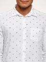 Рубашка хлопковая с нагрудным карманом oodji #SECTION_NAME# (белый), 3L310178M/48974N/1079G - вид 4