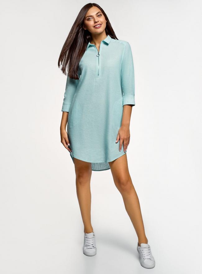 Платье прямое с рукавом 3/4 oodji #SECTION_NAME# (бирюзовый), 12C11007/49284/7000N