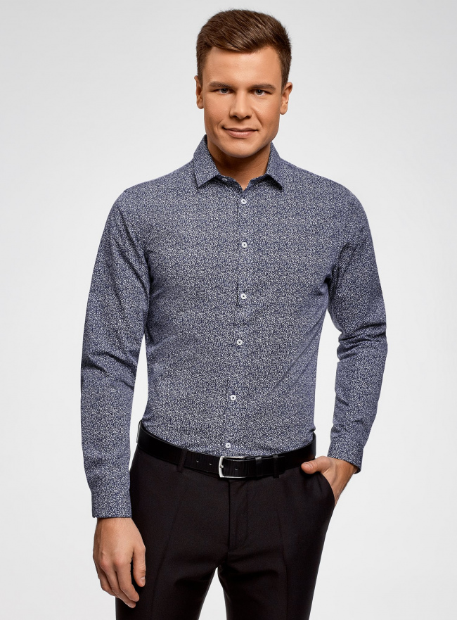 Рубашка приталенная в мелкую графику oodji #SECTION_NAME# (синий), 3L110322M/44425N/1079G