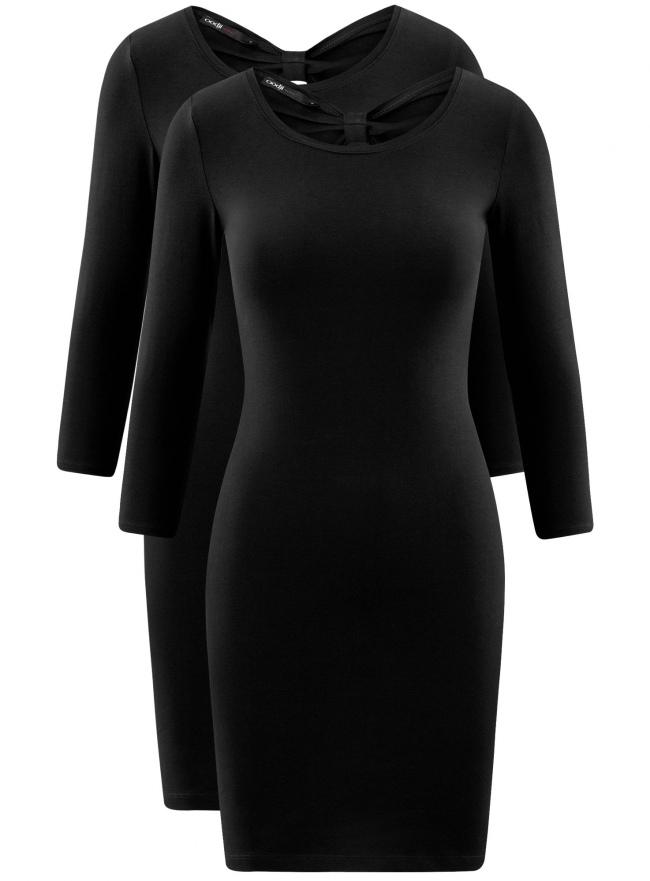 Платье облегающее (комплект из 2 штук) oodji для женщины (черный), 14001193T2/47420/2900N